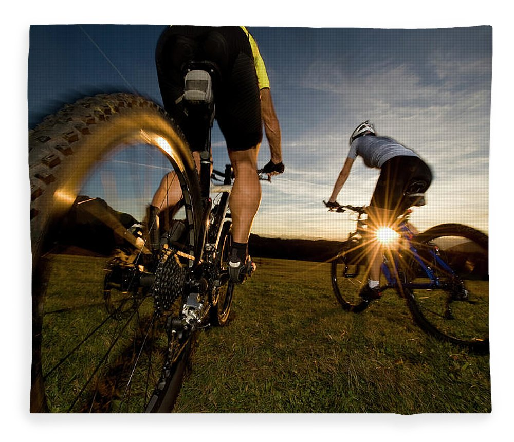 Blurred Motion Fleece Blanket featuring the photograph Cycling Adventure by Gorfer