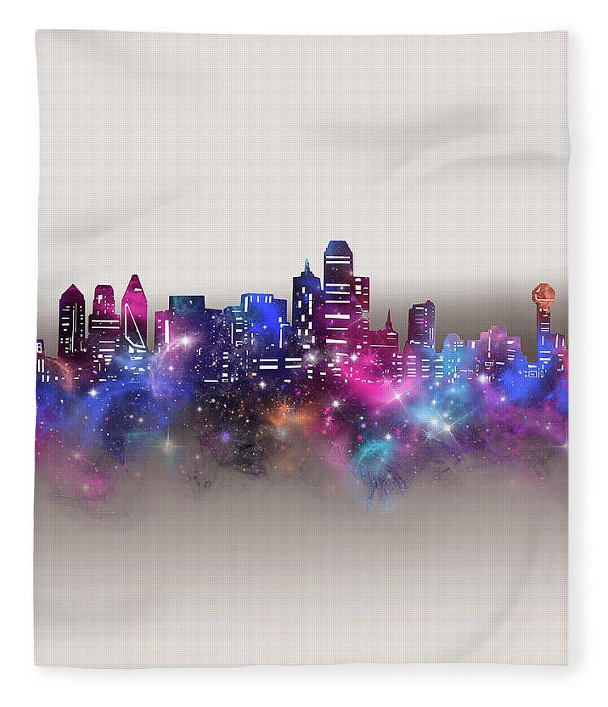 Dallas Fleece Blanket featuring the digital art Dallas Skyline Galaxy by Bekim M