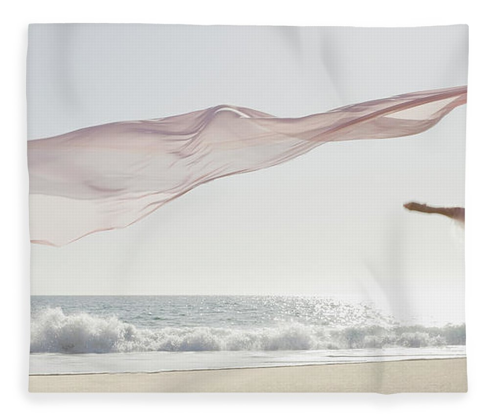 Ballet Dancer Fleece Blanket featuring the photograph Dancer Leaping On Beach by Tetra Images - Pt Images