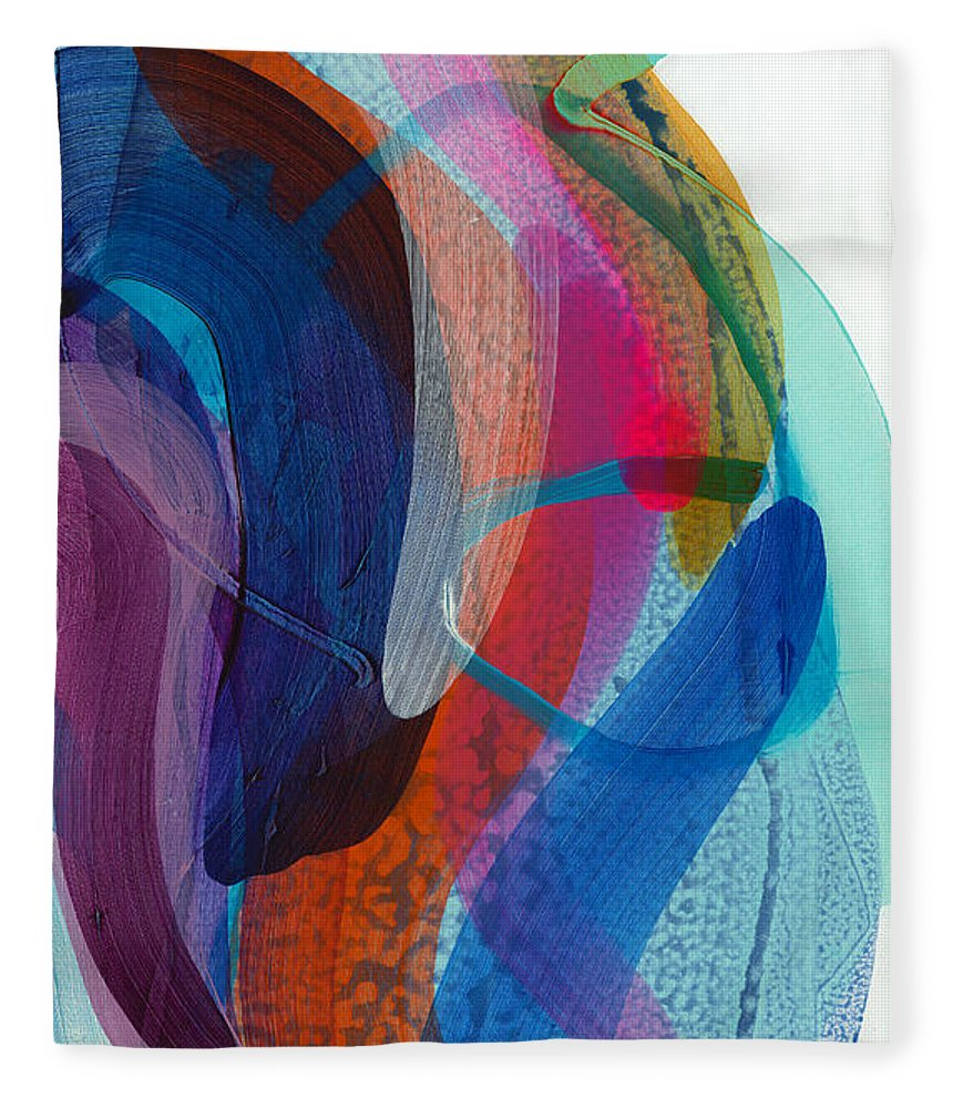Abstract Fleece Blanket featuring the painting Dancing In The Kitchen by Claire Desjardins
