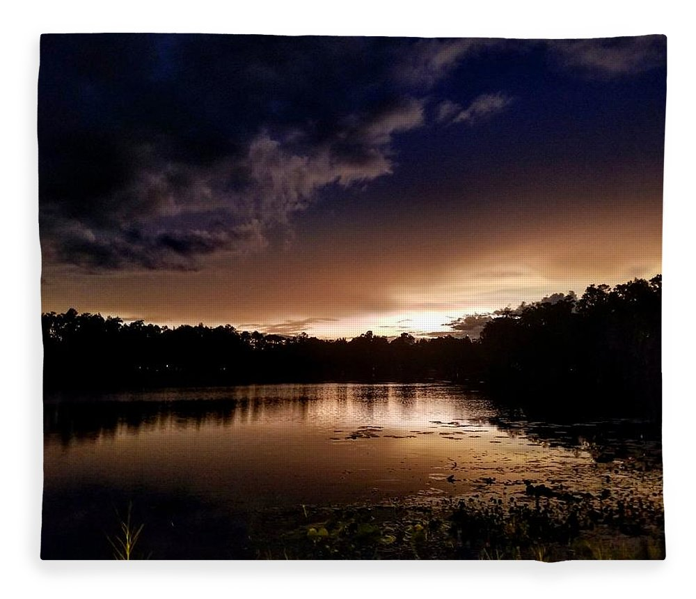 Sunset Fleece Blanket featuring the photograph Dark Reflections by Shena Sanders
