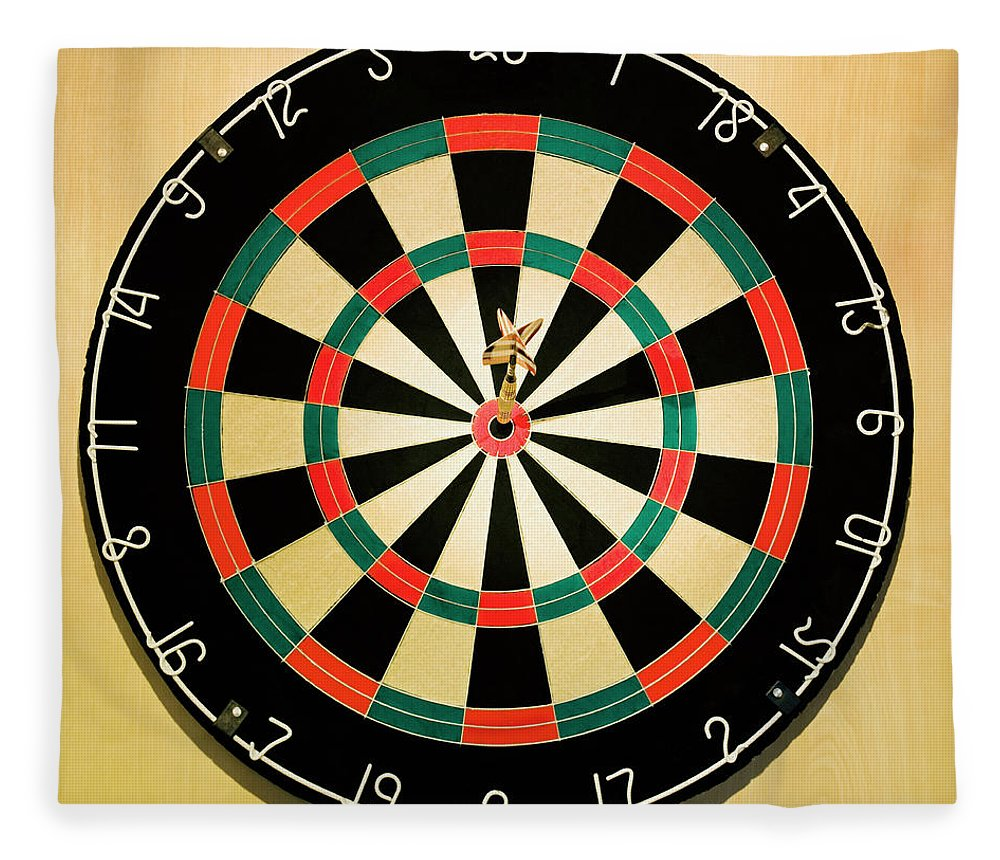 Expertise Fleece Blanket featuring the photograph Dart In Bulls Eye On Dart Board by Fuse