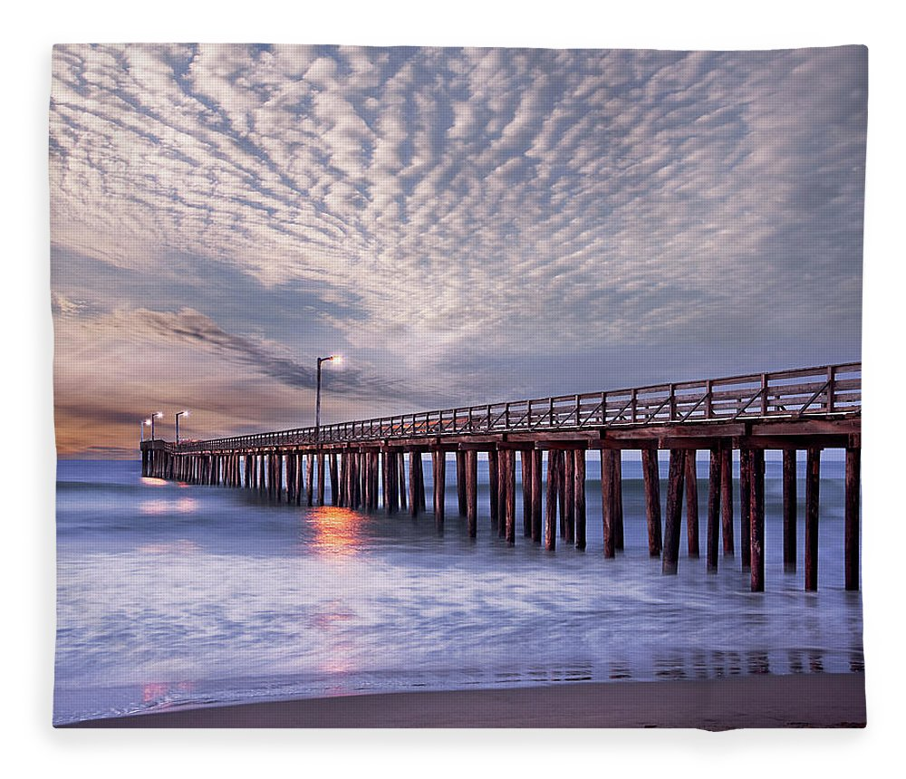 Scenics Fleece Blanket featuring the photograph Dawn Clouds Over Pier In Pacific Ocean by Alice Cahill