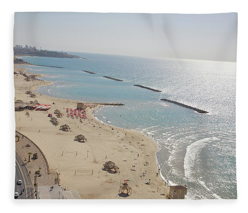 Tranquility Fleece Blanket featuring the photograph Day View Of Tel Aviv Promenade And Beach by Barry Winiker