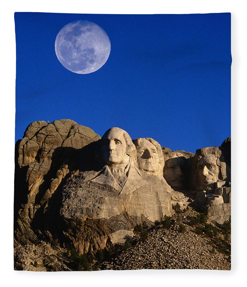 Mt Rushmore National Monument Fleece Blanket featuring the photograph Daytime Moon Above Presidential Faces by Mark Newman