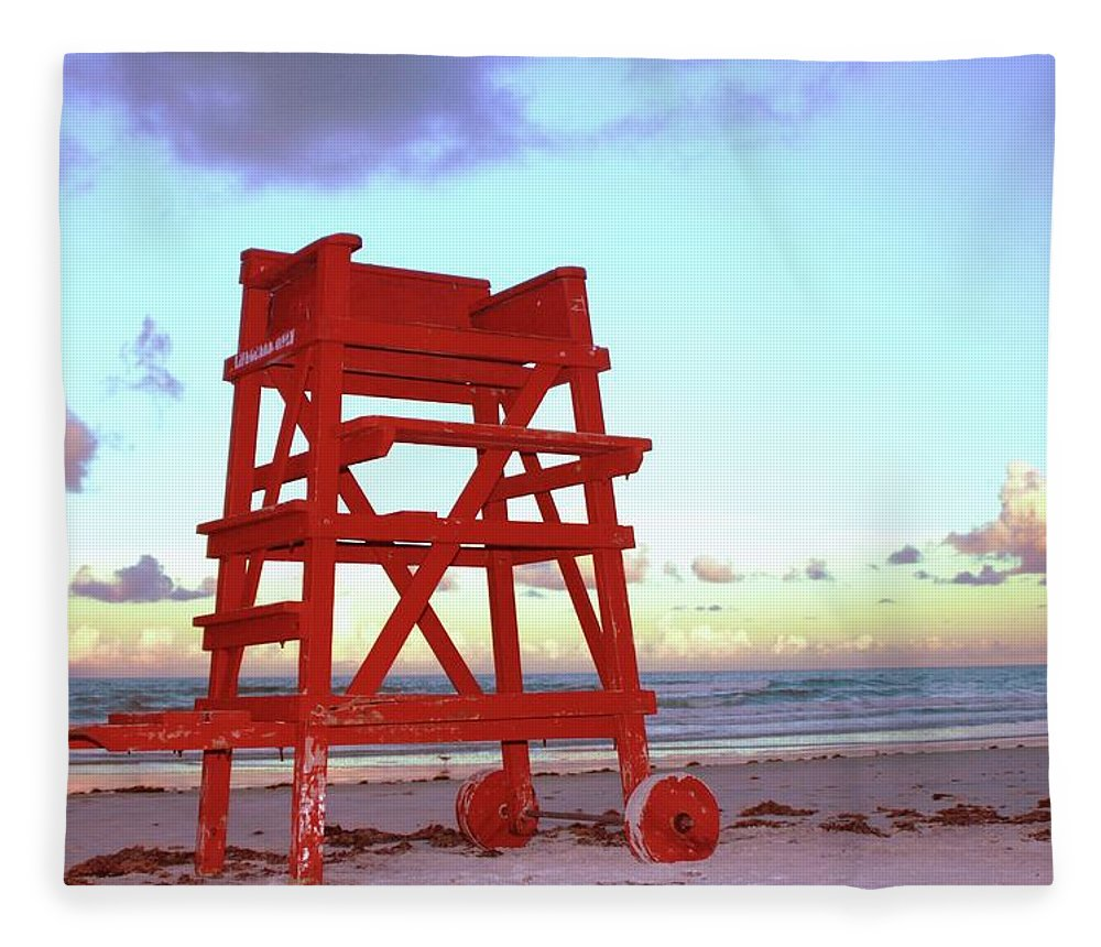 Empty Fleece Blanket featuring the photograph Daytona Beach Lifeguard Stand At by Thomas Damgaard Sabo, Damgaard Photography