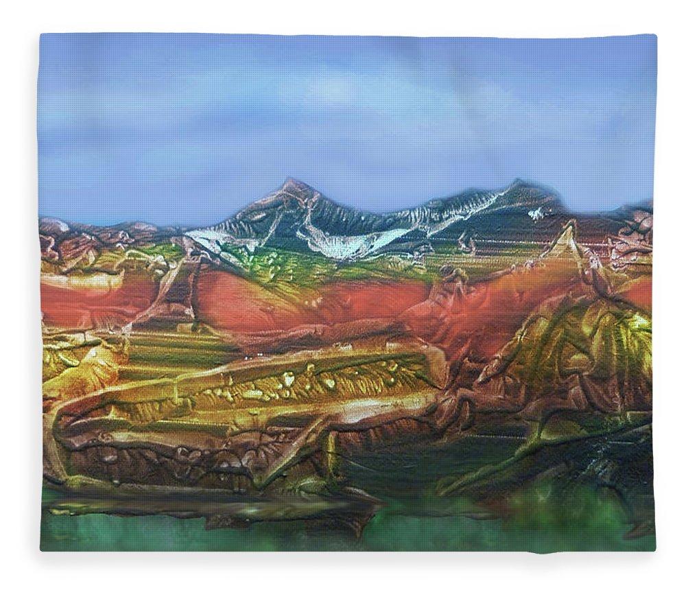 Otto Rapp Fleece Blanket featuring the digital art Decalcomania 2019-05-21 by Otto Rapp
