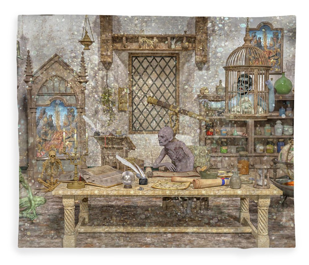 Wizard Fleece Blanket featuring the digital art Decisions Of The Damned by Betsy Knapp