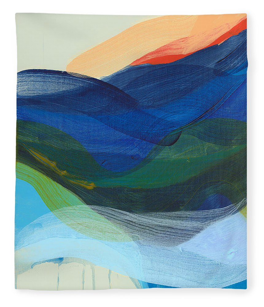 Abstract Fleece Blanket featuring the painting Deep Sleep Undone by Claire Desjardins