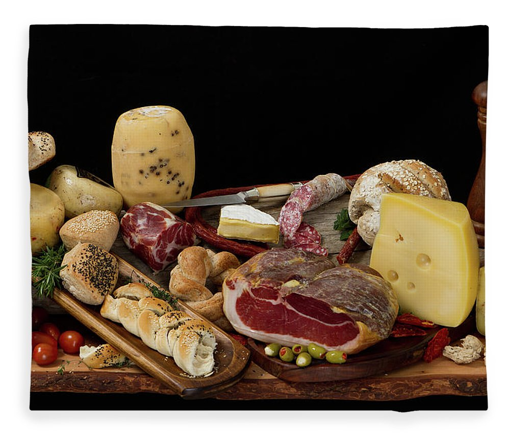 Cheese Fleece Blanket featuring the photograph Delicious Typical Argentinean Antipasto by Ruizluquepaz