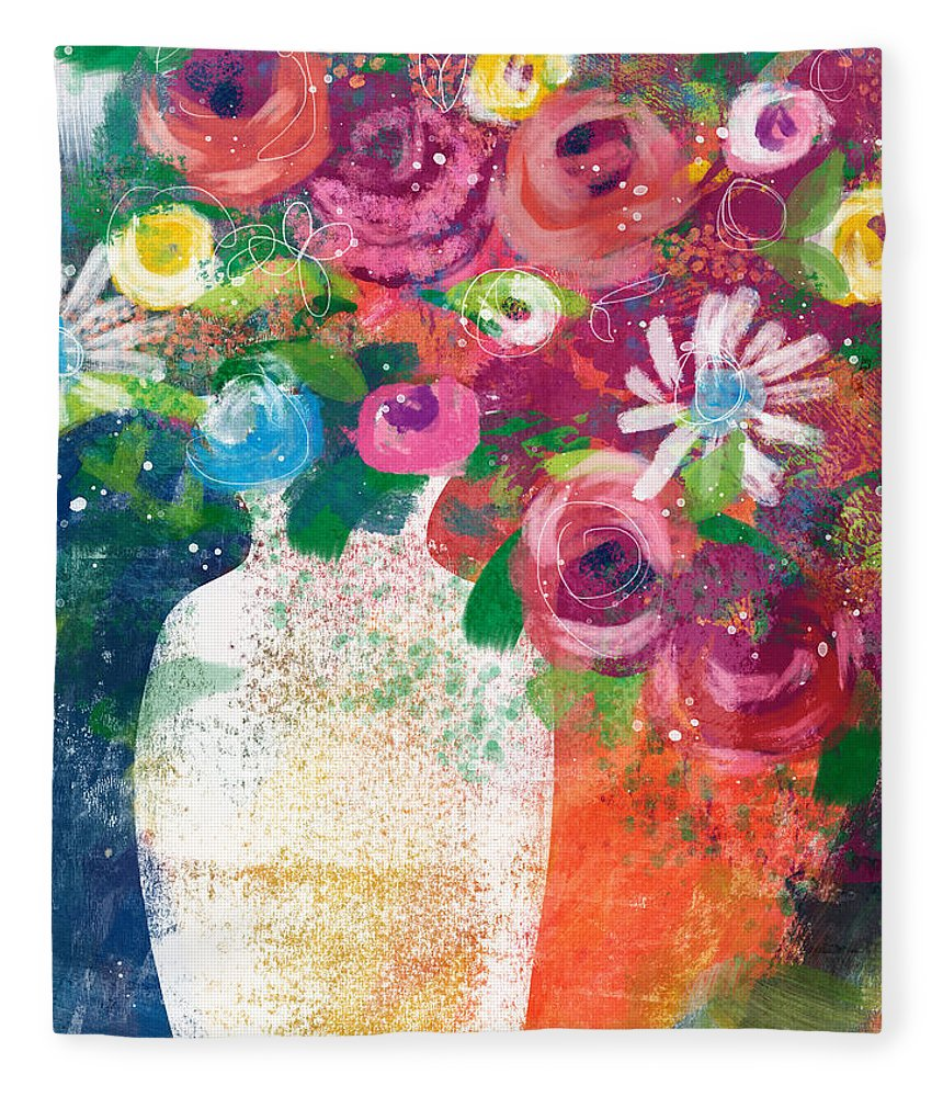 Floral Fleece Blanket featuring the mixed media Delightful Bouquet 2- Art By Linda Woods by Linda Woods