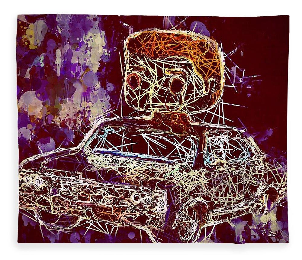 Funko Pop Fleece Blanket featuring the mixed media Dean Winchester Car Supernatural Pop by Al Matra