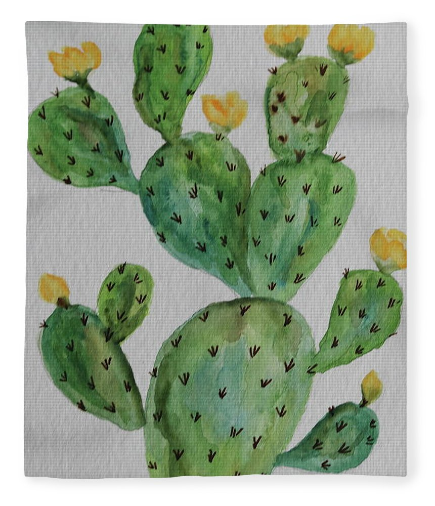Cactus Fleece Blanket featuring the painting Desert Garden Beauty by Christiane Schulze Art And Photography