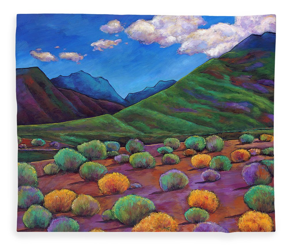 Arizona Fleece Blanket featuring the painting Desert Valley by Johnathan Harris