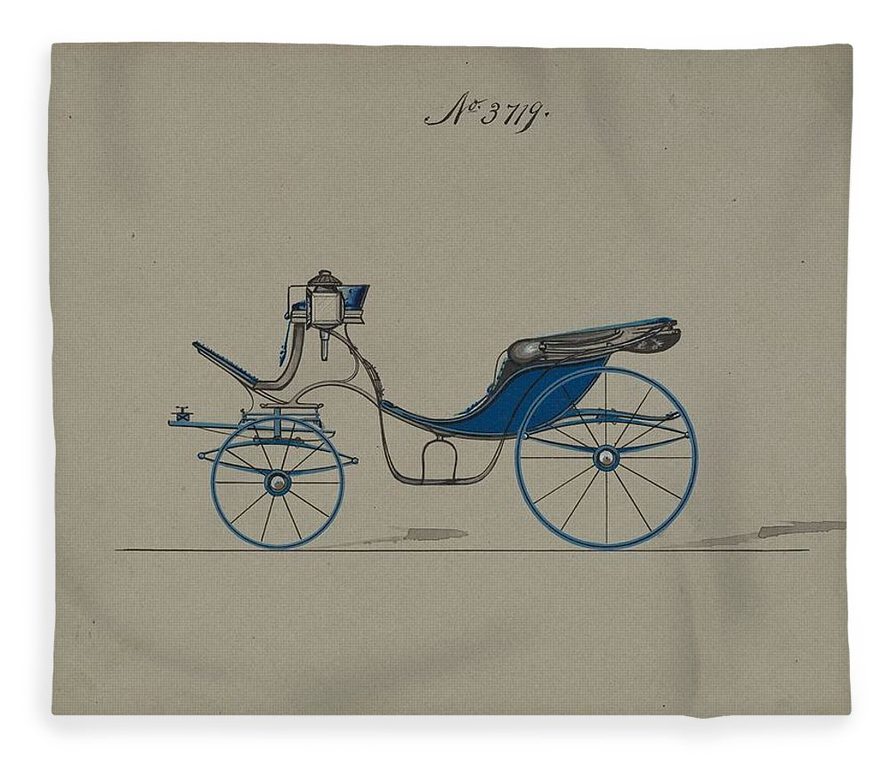 Vintage Fleece Blanket featuring the painting Design For Cabriolet Or Victoria, No. 3719 Brewster And Co. American, New York by Brewster and Co