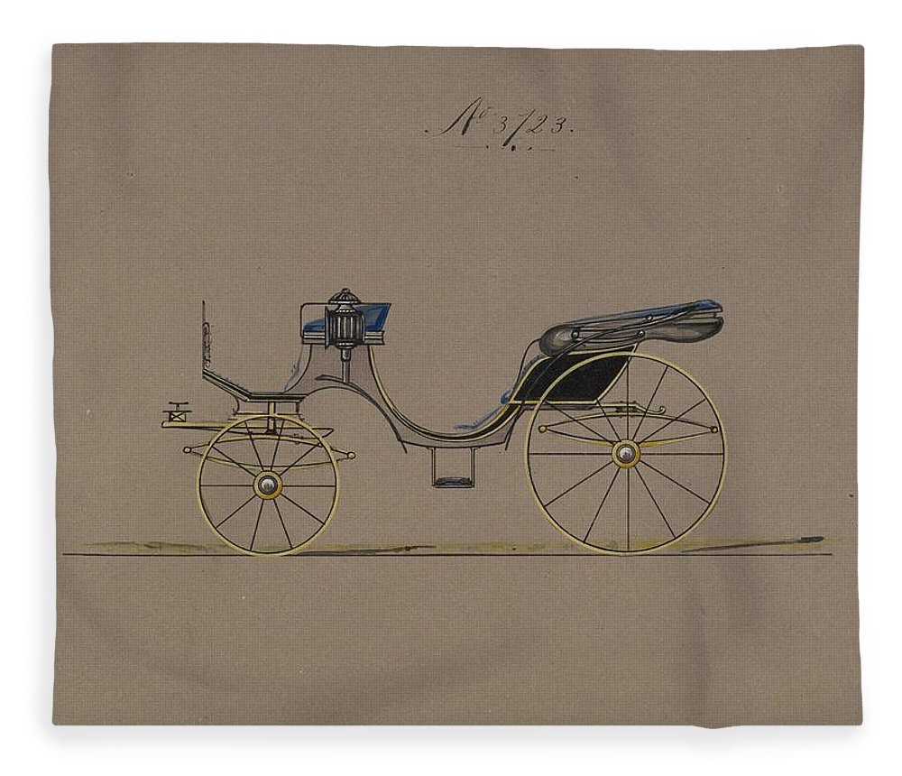 Vintage Fleece Blanket featuring the painting Design For Cabriolet Or Victoria, No. 3723 1881 by MotionAge Designs