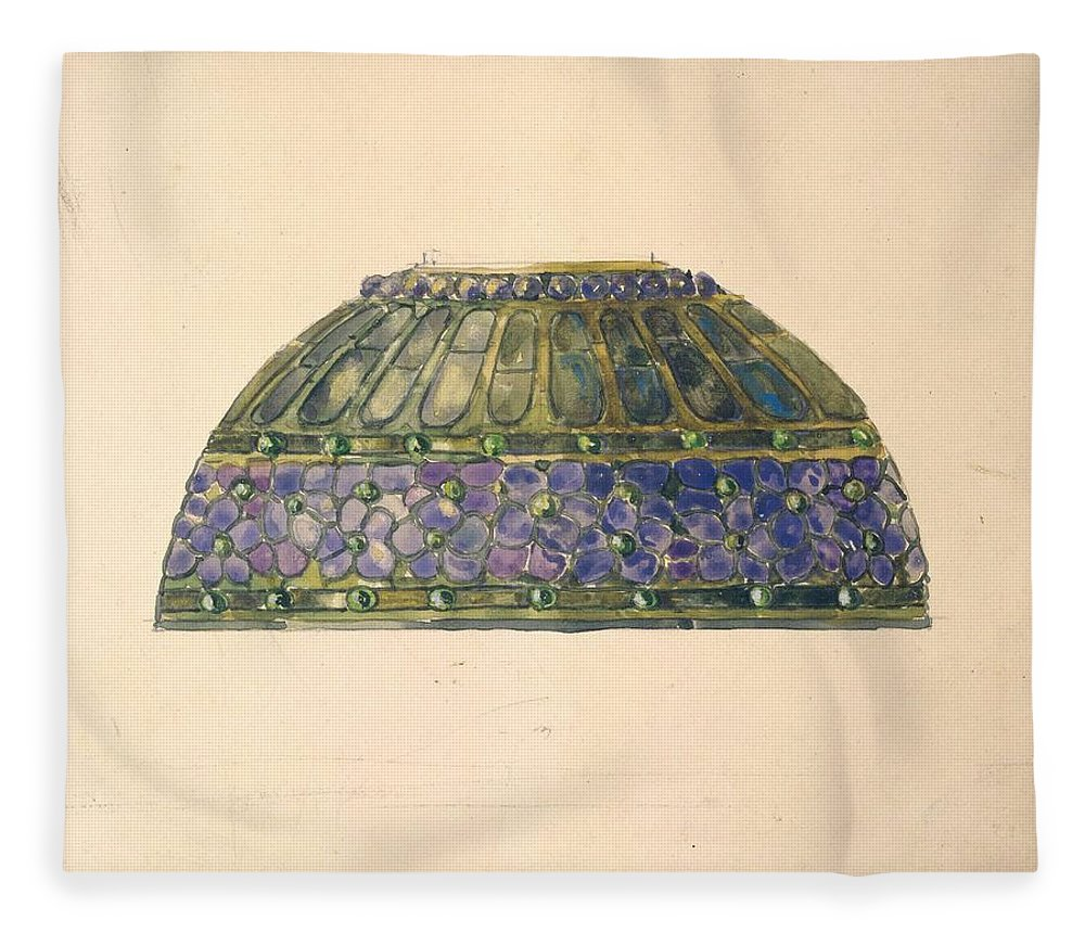 Car Fleece Blanket featuring the painting Design For Floral Lamp Louis Comfort Tiffany American, New York 1848-1933 New York by Louis Comfort Tiffany