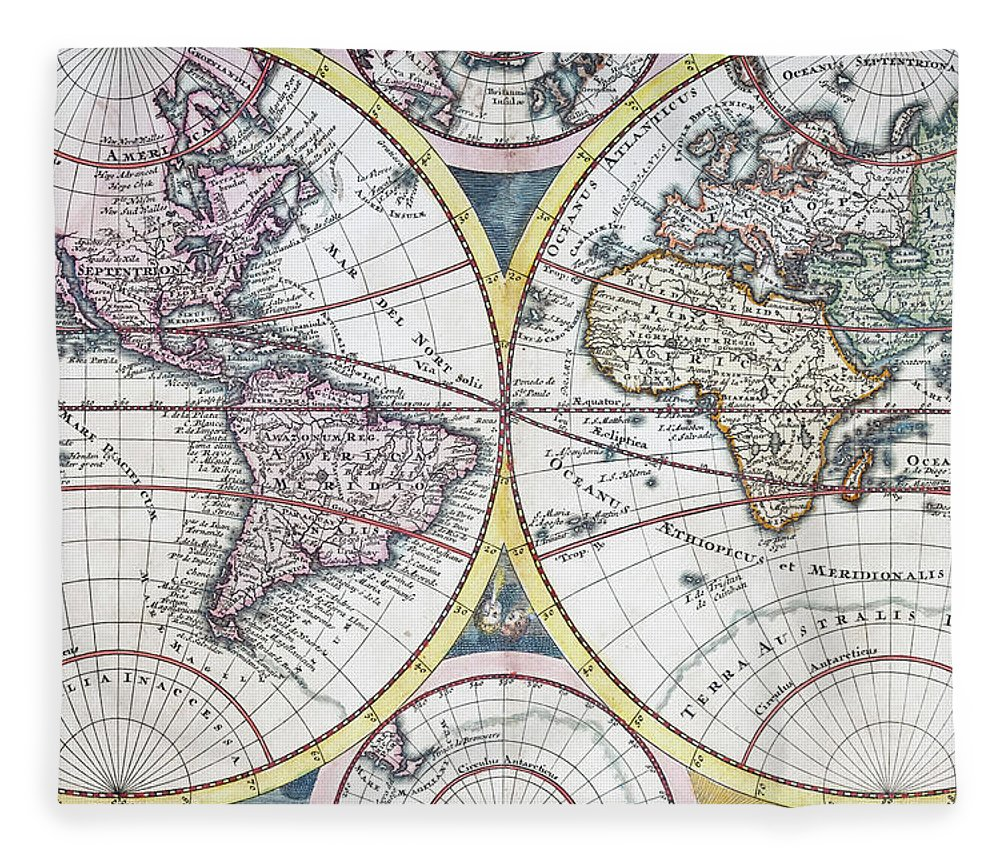 Engraving Fleece Blanket featuring the digital art Detail Copper Engraving Of World Map by Grafissimo
