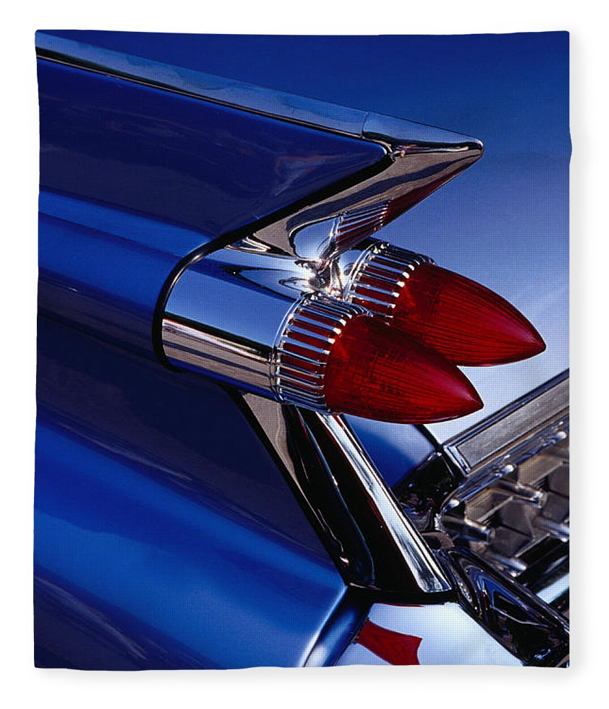 Silver Colored Fleece Blanket featuring the photograph Detail Of An American Cadillac, Eze by Richard I'anson