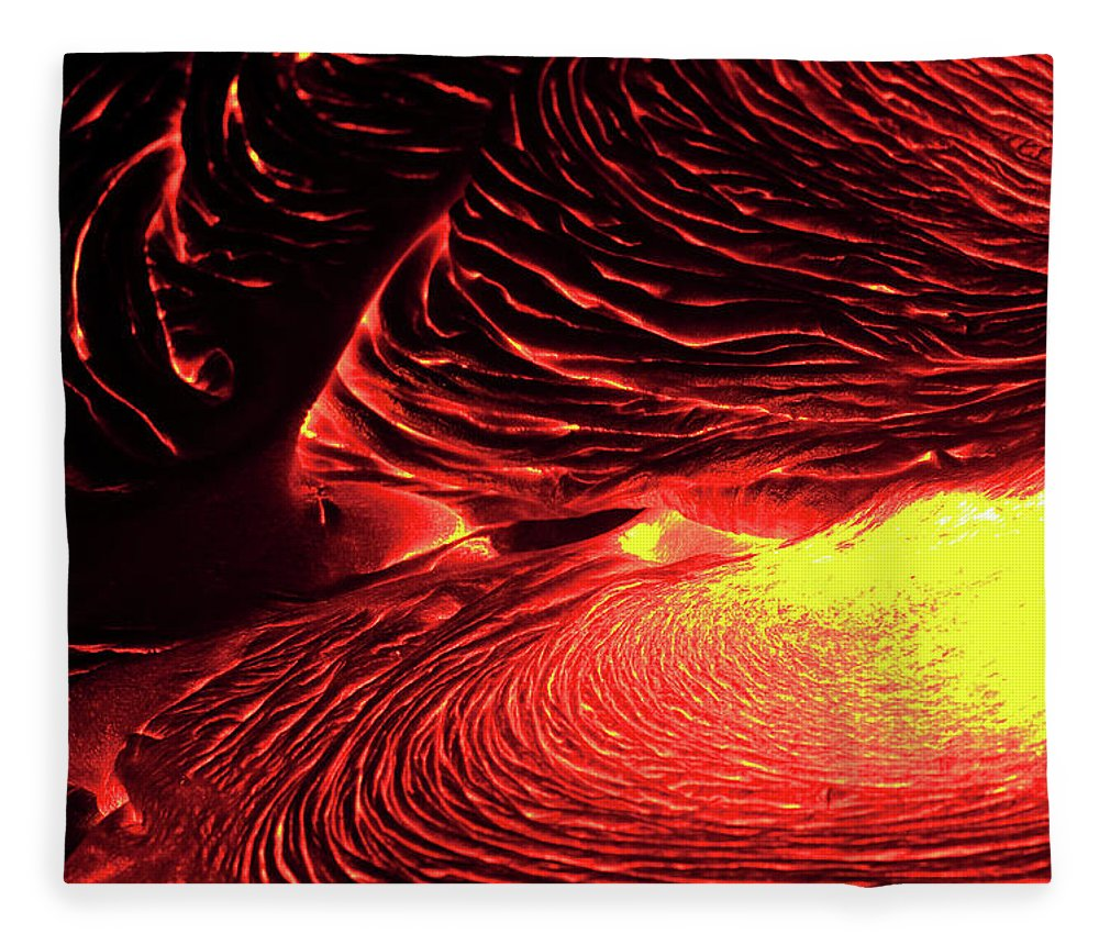 Hawaii Volcanoes National Park Fleece Blanket featuring the photograph Detail Of Flowing Lava, Hawaii by Mint Images/ Art Wolfe