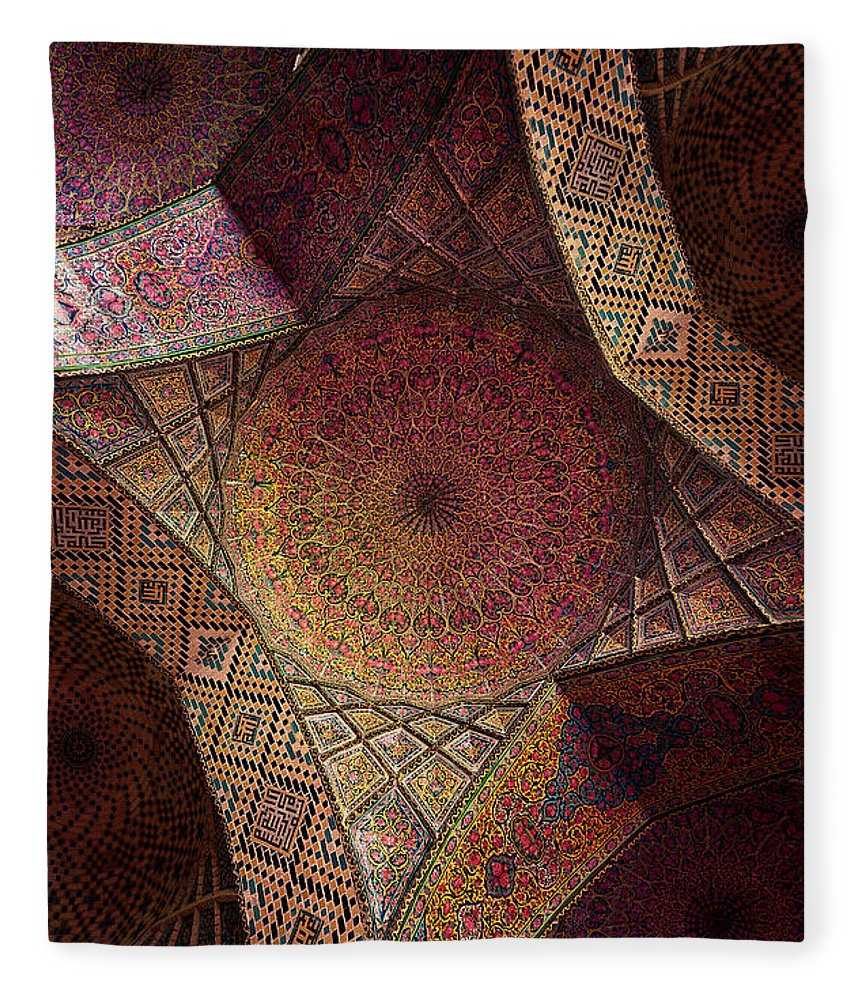 East Fleece Blanket featuring the photograph Detail Of The Ceiling Tilework by Len4foto