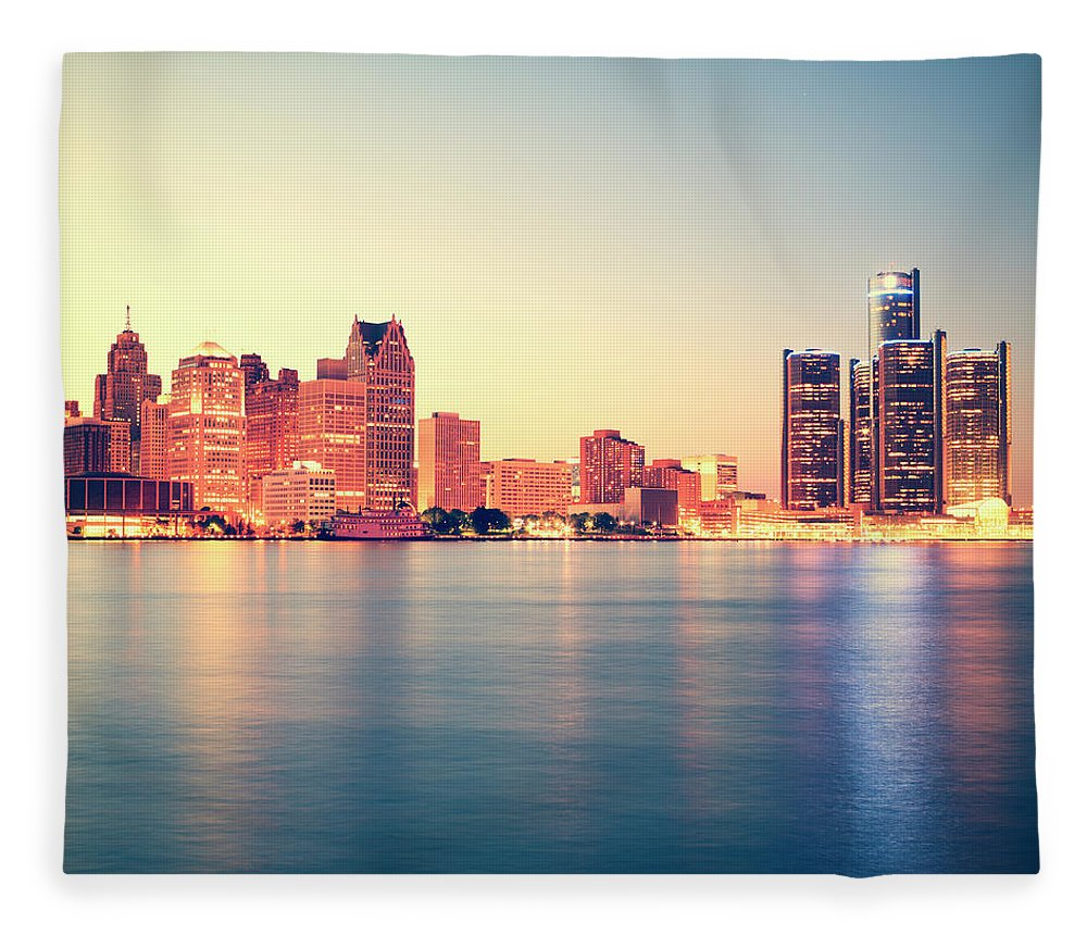 Downtown District Fleece Blanket featuring the photograph Detroit At Sunset by Espiegle