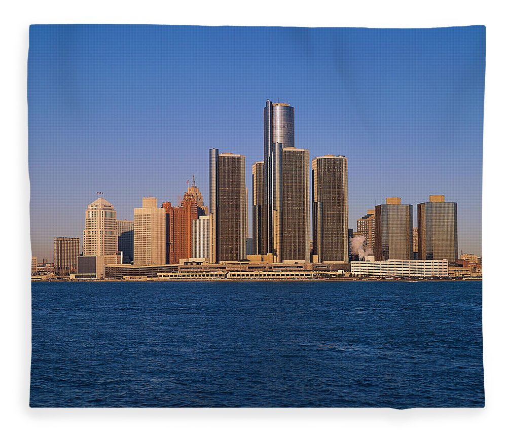 Detroit Fleece Blanket featuring the photograph Detroit Buildings On The Water by Visionsofamerica/joe Sohm