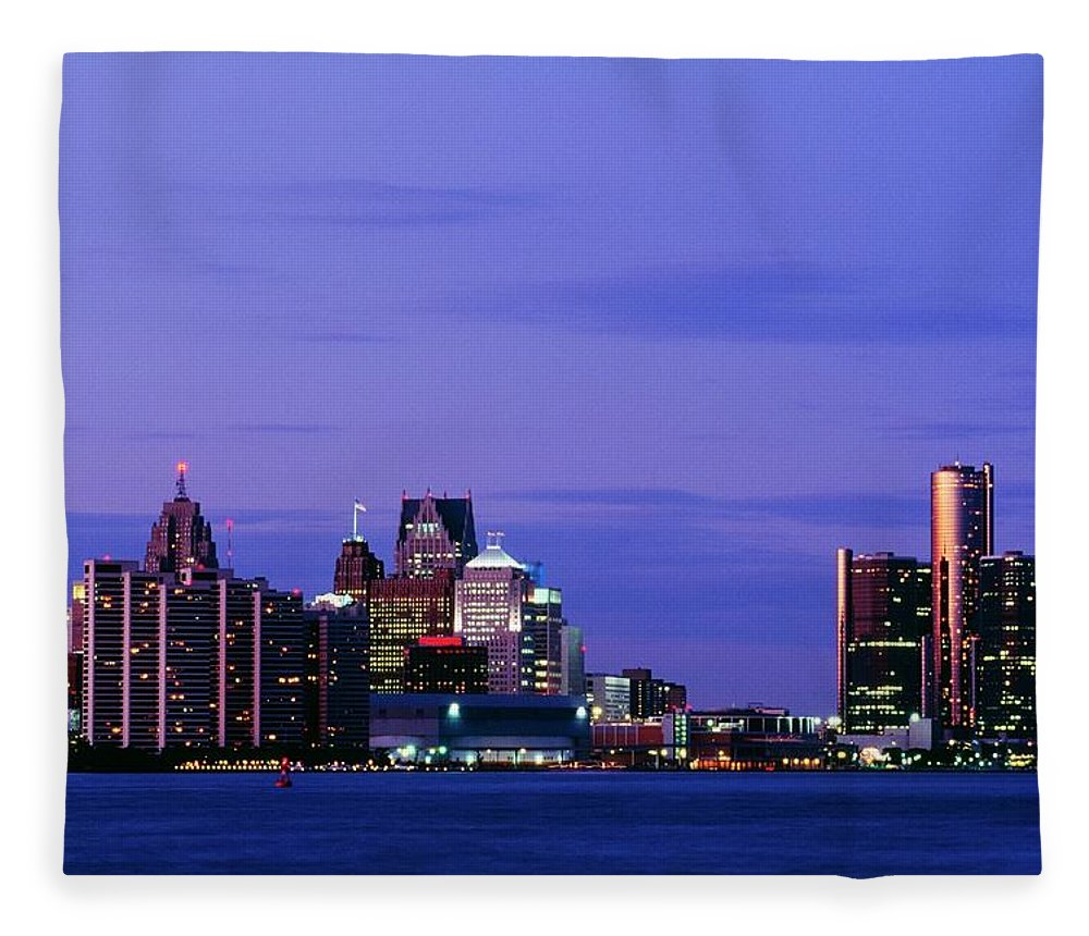 Downtown District Fleece Blanket featuring the photograph Detroit Skyline At Night In Usa by Design Pics