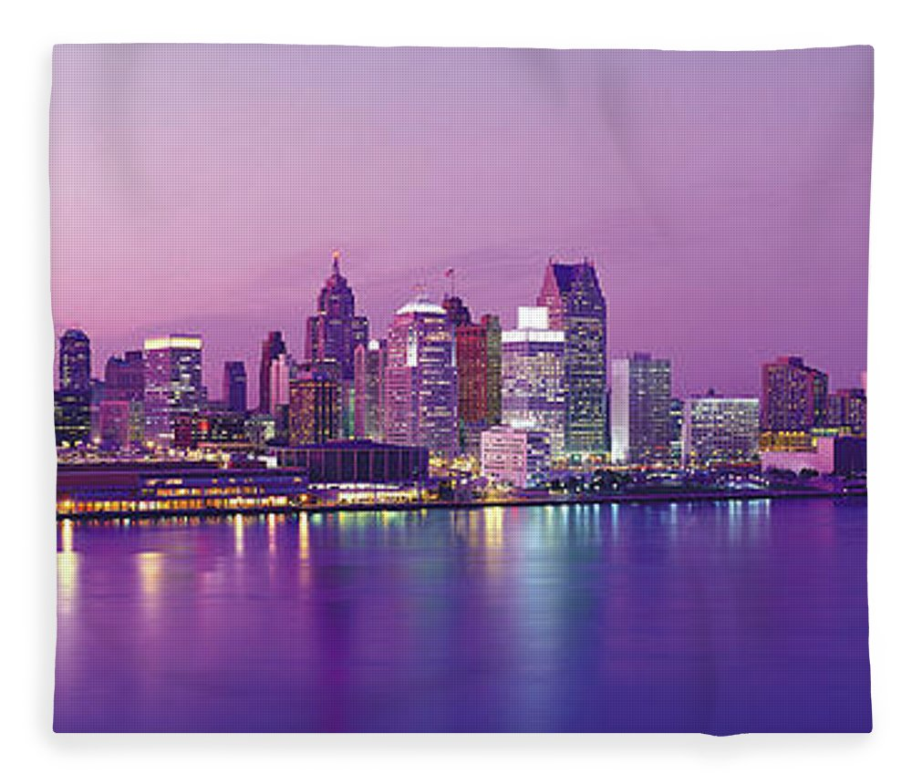 Dawn Fleece Blanket featuring the photograph Detroit Under Purple Sky by Jeremy Woodhouse