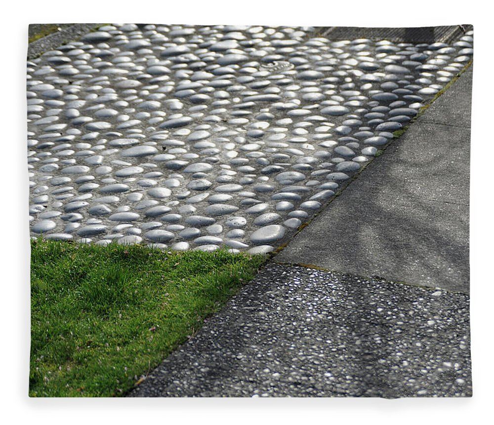 Grass Fleece Blanket featuring the photograph Different Textures Of Sidewalk, And by Aaron Mccoy