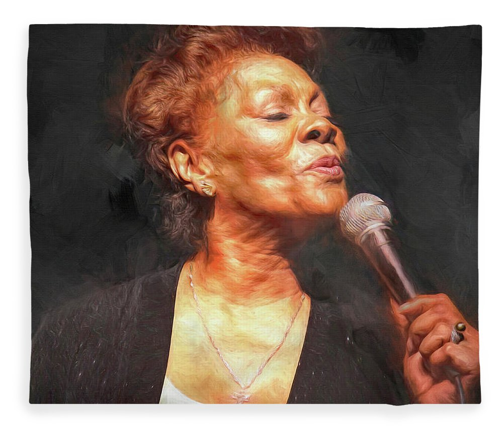 Dionne Warwick Fleece Blanket featuring the mixed media Dionne Warwick by Mal Bray
