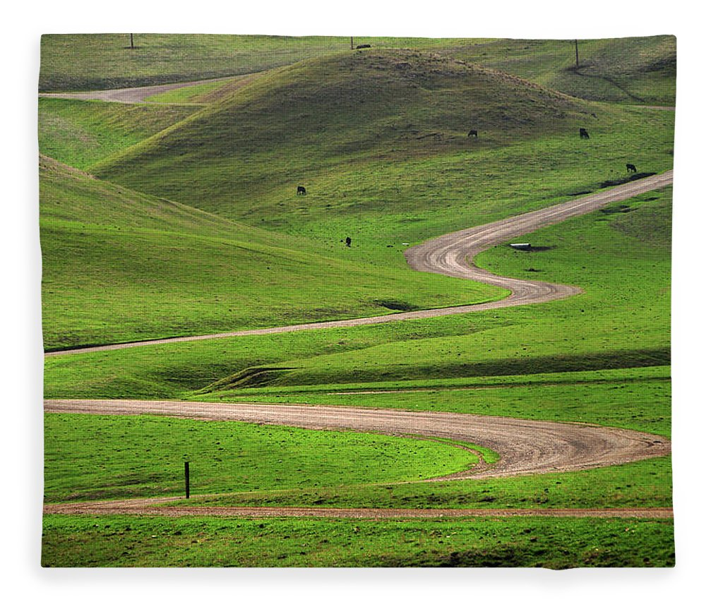 Tranquility Fleece Blanket featuring the photograph Dirt Road Through Green Hills by Mitch Diamond
