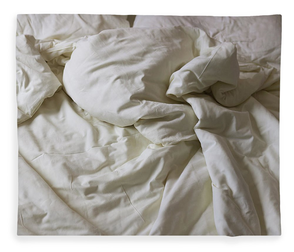 Hotel Fleece Blanket featuring the photograph Discarded Bed, Early Morning by Julio Lopez Saguar