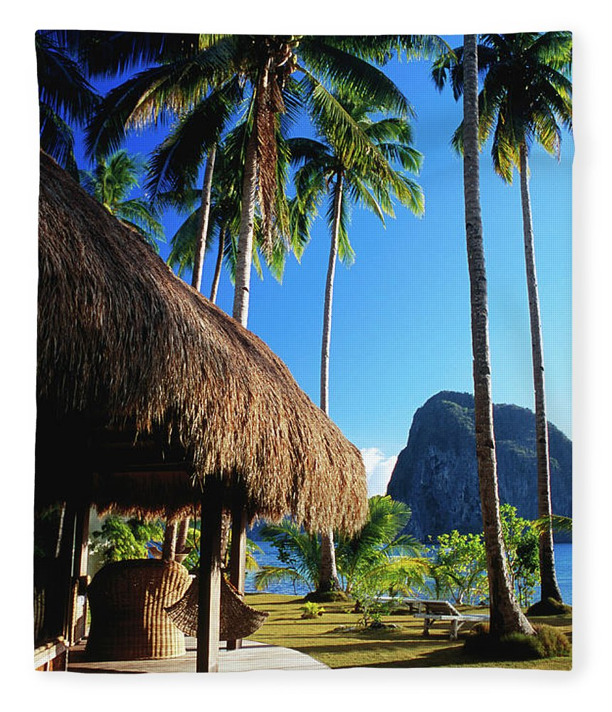 Tropical Tree Fleece Blanket featuring the photograph Dolarog Beach Resort With Inabuyatan by Dallas Stribley