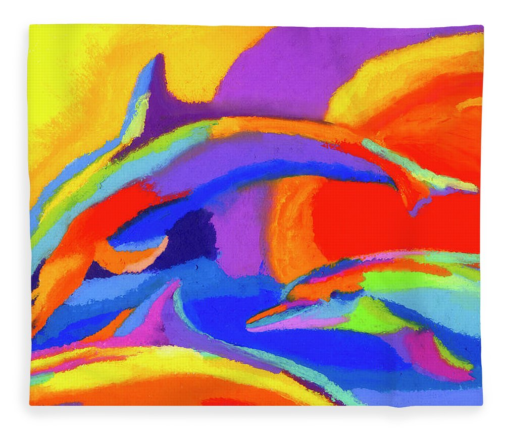 Dolphin Fleece Blanket featuring the painting Dolphin Dance by Stephen Anderson