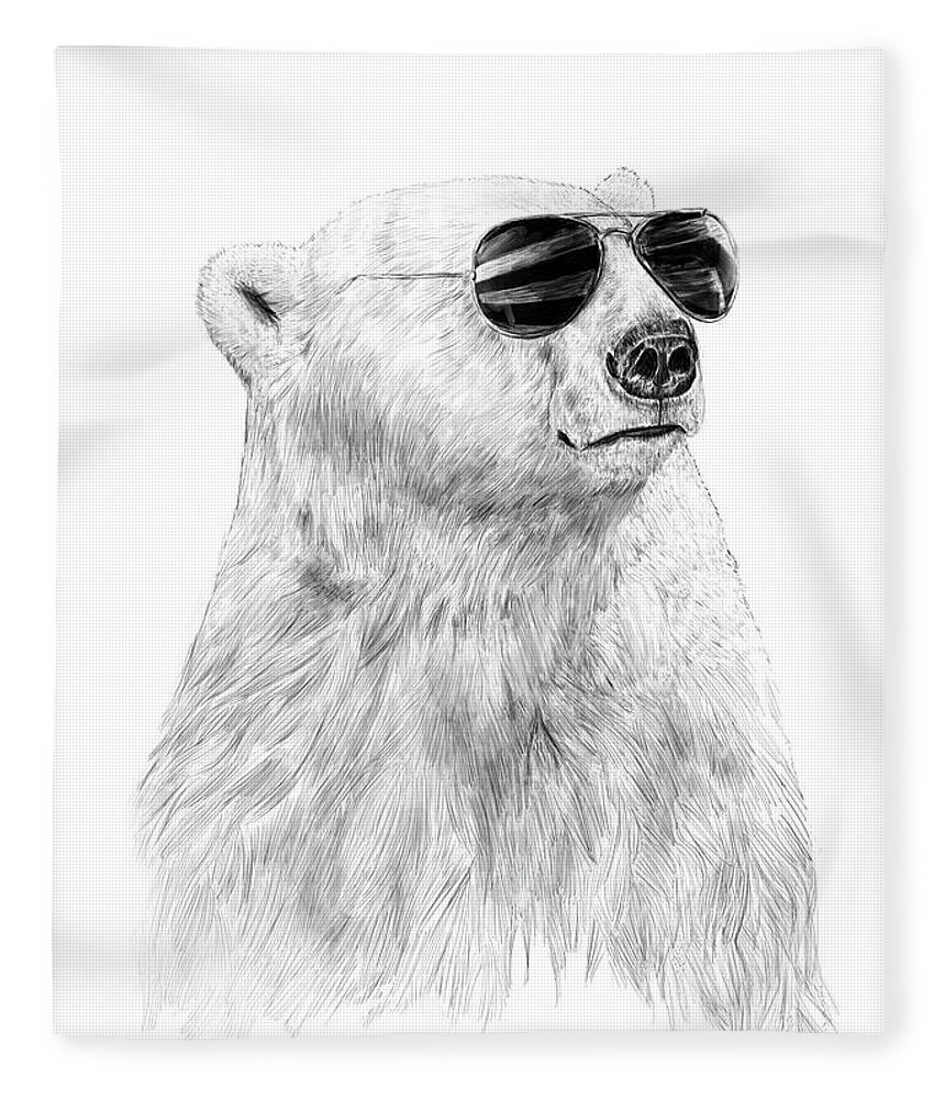 Polar Bear Fleece Blanket featuring the drawing Don't let the sun go down by Balazs Solti
