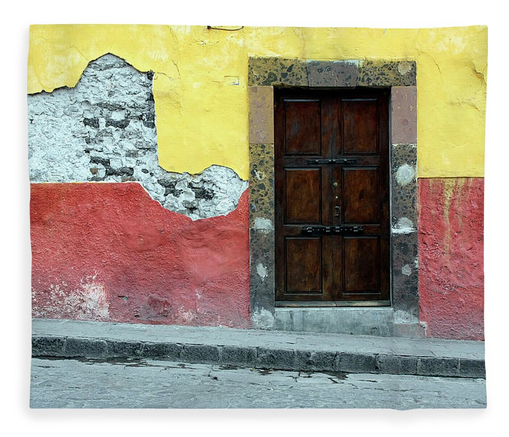 Built Structure Fleece Blanket featuring the photograph Doorway Of Colorful Building In Mexico by Tankbmb