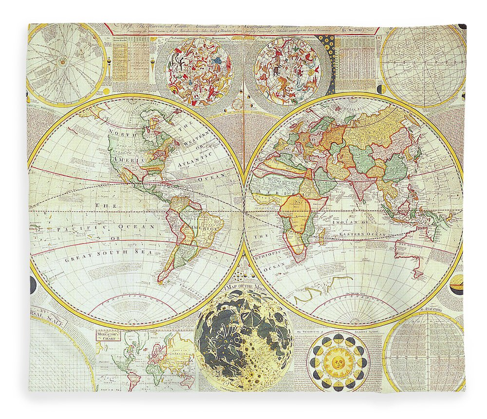 Ancient Fleece Blanket featuring the digital art Double Hemisphere World Map by The Map House Of London