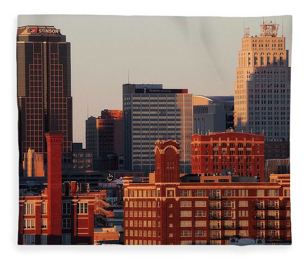 Downtown District Fleece Blanket featuring the photograph Downtown Kansas City by Eric Bowers Photo