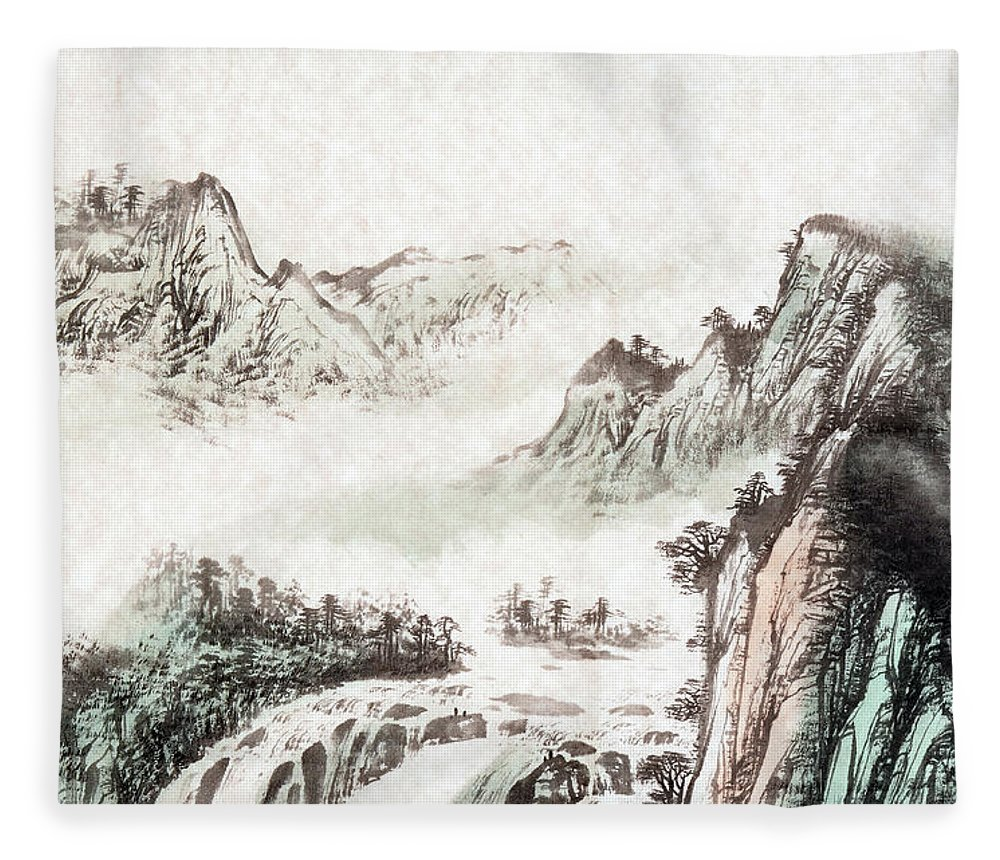 Chinese Culture Fleece Blanket featuring the digital art Drawing Of A Mountain Landscape by Vii-photo