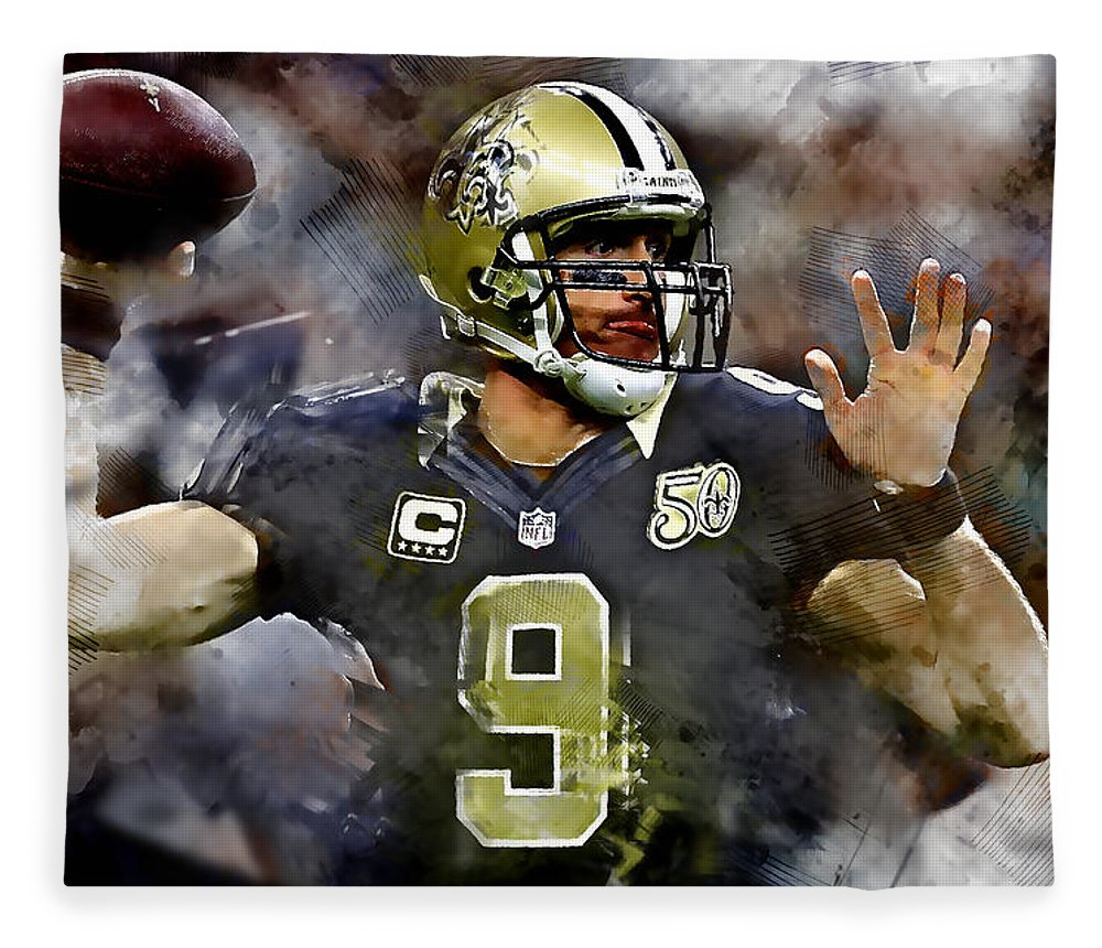 Drew Brees Fleece Blanket featuring the mixed media Drew Brees by Marvin Blaine