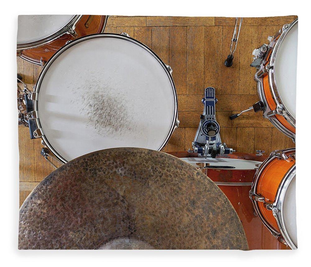Berlin Fleece Blanket featuring the photograph Drum Kit Arrangement by Halfdark