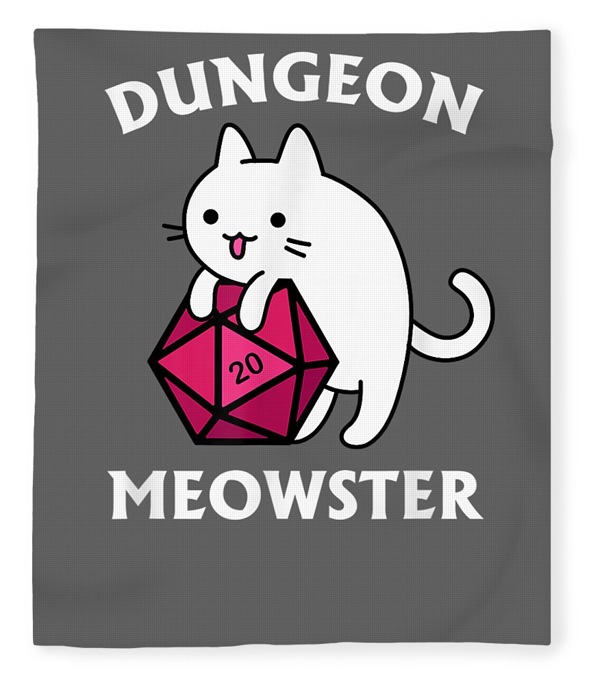 girls' Novelty T-shirts Fleece Blanket featuring the digital art Dungeon Meowster Funny Dnd Tabletop Gamer Cat D20 Tshirt by Do David