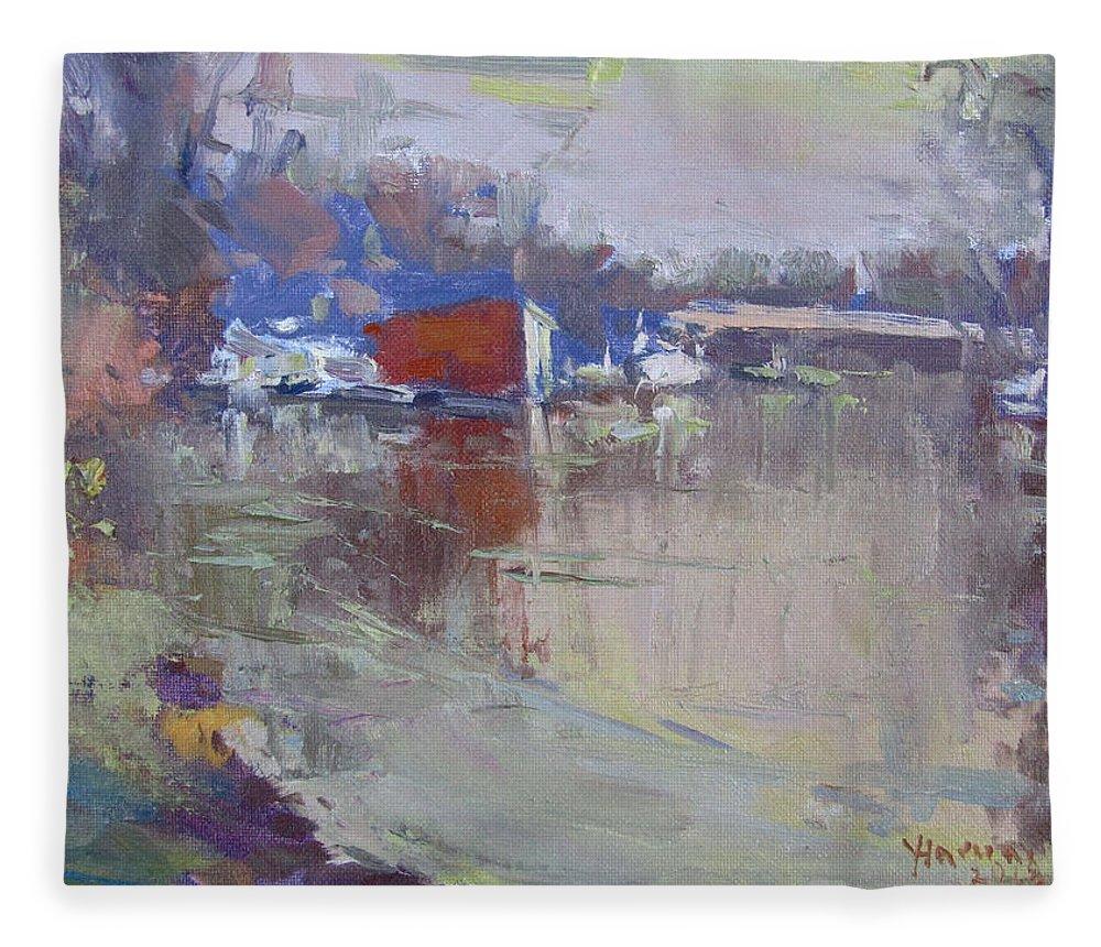 Dusk Fleece Blanket featuring the painting Dusk At Tonawanda Canal by Ylli Haruni