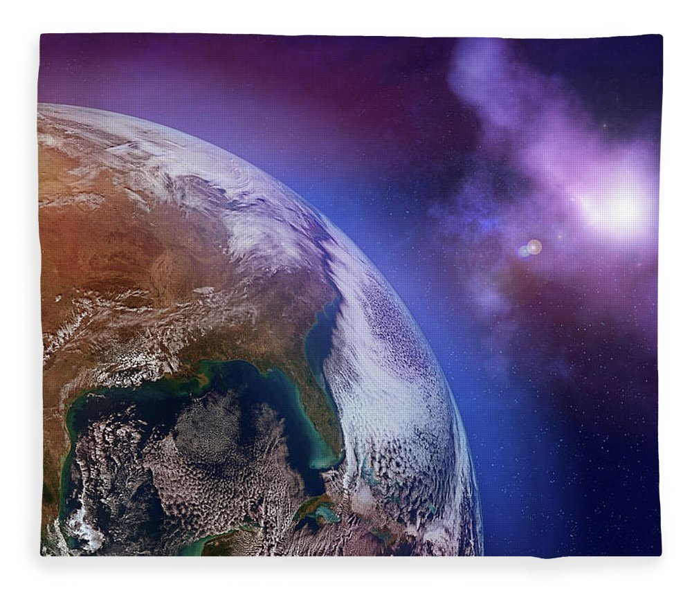 Globe Fleece Blanket featuring the photograph Earth With Stars by Dem10