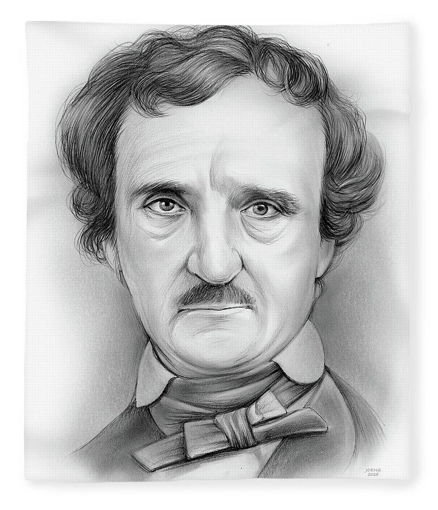 Edgar Allan Poe Fleece Blanket featuring the drawing Edgar Allan Poe by Greg Joens