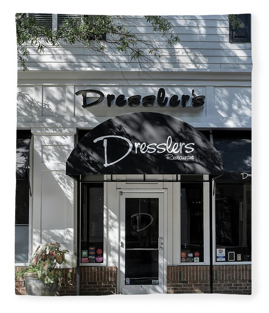 Birkdale Fleece Blanket featuring the photograph Elegant Dresslers Restaurant by Amy Dundon