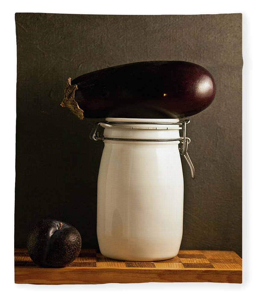 Plum Fleece Blanket featuring the photograph Eggplant, Plum And Jar Still Life by Marilyn Conway