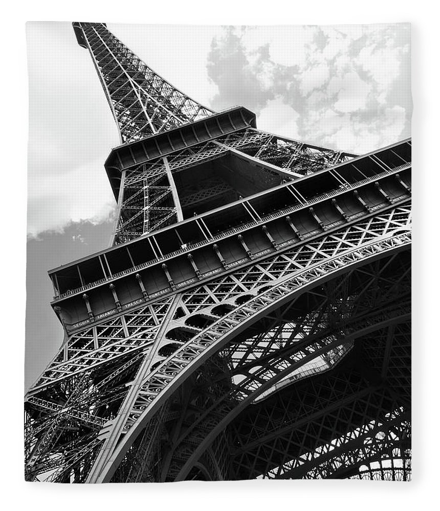 Black Color Fleece Blanket featuring the photograph Eiffel Tower In Black And White by Sarah8000