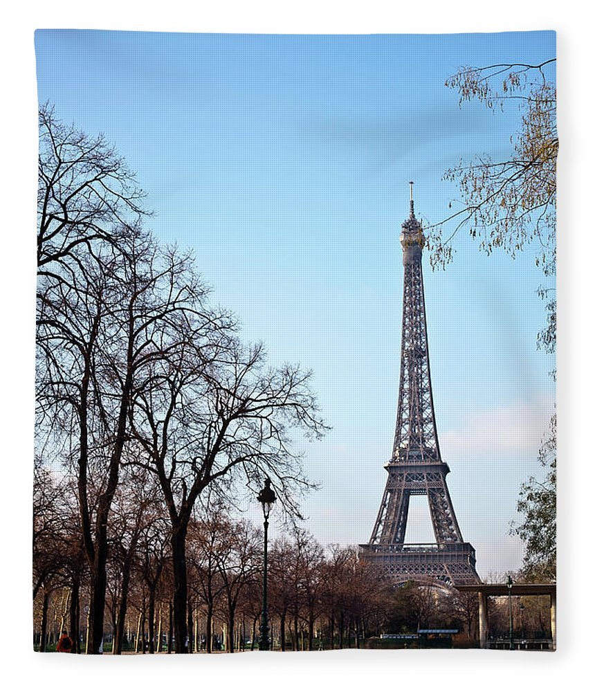 Built Structure Fleece Blanket featuring the photograph Eiffel Tower In Paris by Tuan Tran